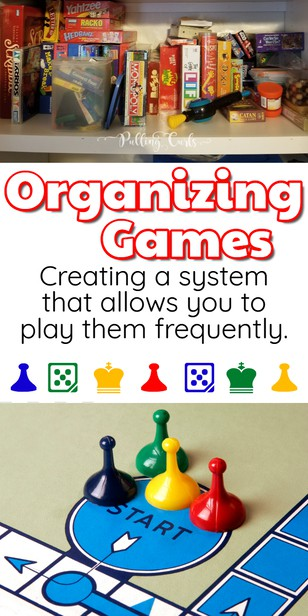 Games are AWESOME -- but in a kid's eyes, the way we store them often makes them hard to get out and put away (without getting yelled out) -- but our system makes it SO much easier! via @pullingcurls