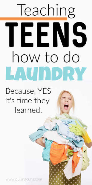 How do you teach teenagers how to do their own laundry? Now is a great time to get started! via @pullingcurls