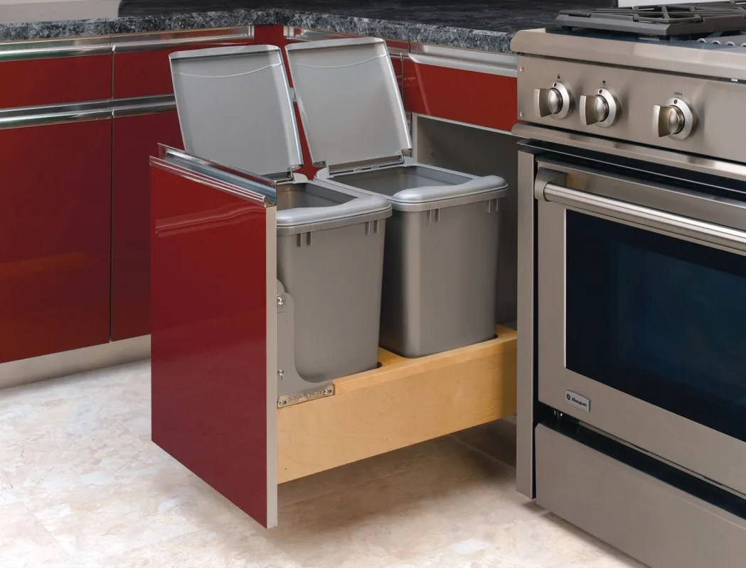 door mounted kitchen garbage can with lid aid microwaves rev a shelf 4wcbm 18dm 2 metallic silver series