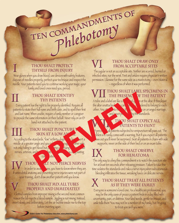 Ten Commandments Of Phlebotomy