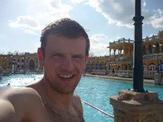MikeW splashing out on his bargain trip to Budapest at the Szechenyi Baths (source – Pulped Travel)