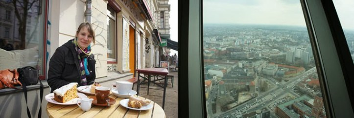On the left, cake – it really was as big as it looks. View from Fernsehturm on right (source - Calum)