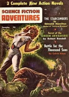 PULP MAGAZINE COVER - SCIENCE FICTION ADVENTURES, DECEMBER 1956