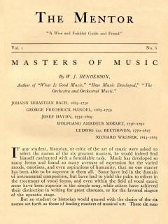 THE MENTOR - MASTERS OF MUSIC - 1913