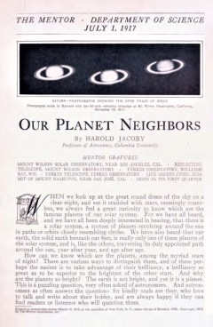 THE MENTOR- OUR PLANET NEIGHBORS - July 1, 1917