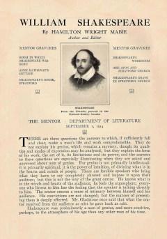 THE MENTOR - WILLIAM SHAKESPEARE - September 1, 1914