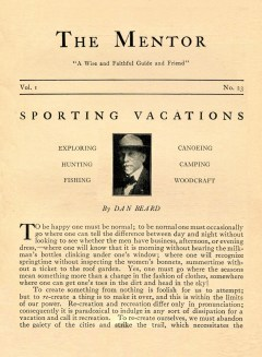 THE MENTOR - SPORTING VACATIONS - 1913