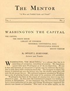 THE MENTOR - WASHINGTON THE CAPITAL - 1913