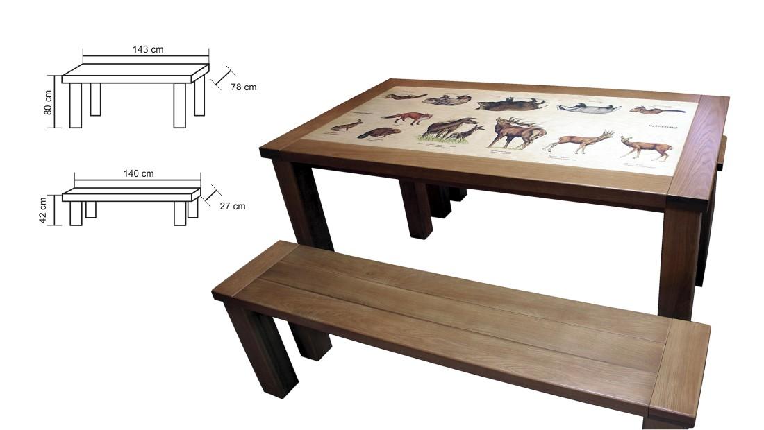 Stół i ława - Dębowe meble edukacyjna