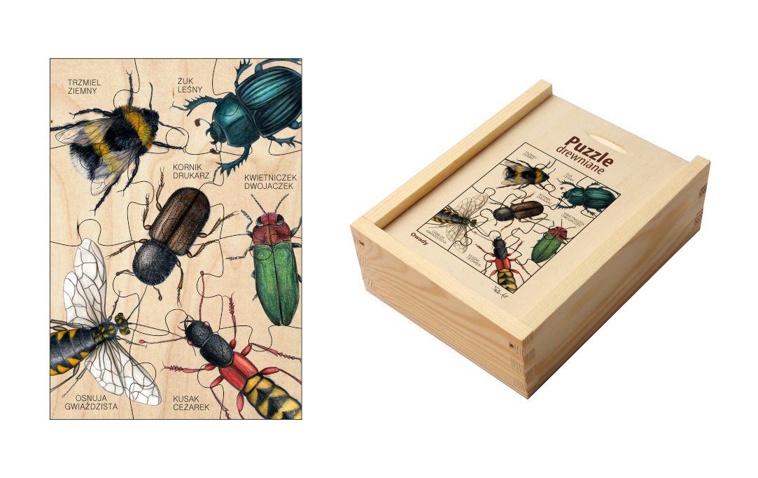 Puzzle drewniane - Owady