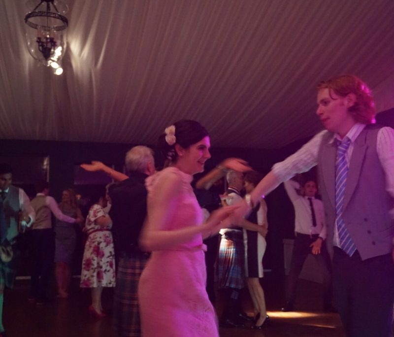 People dancing on busy dance floor