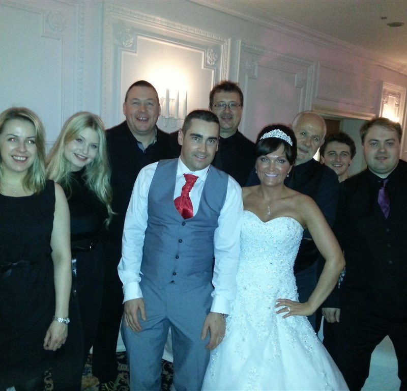 Pulse wedding band Glasgow & Ayrshire in Bothwell Bridge Hotel Motherwell bride and groom with the band