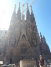 Jen standing with Pulse bag outside the front of Sagrada Familia - Jen Shorten, Barcelona, posted 6th October 2017.