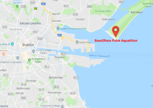 Map of Dublin area showing the location of the Pulse Aquathlon.