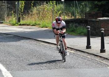 cyclist on tri-bike