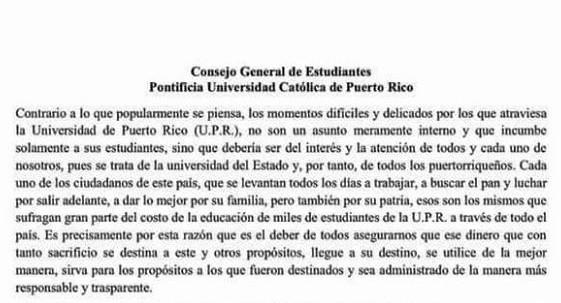 CGE de la PUCPR en solidaridad con la UPR