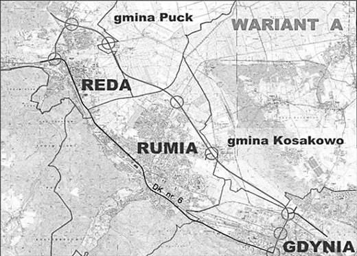 """Na mapce, którą możemy pokazać tylko w czarnobiałej wersji, dolna linia przedstawia obecną drogę krajową nr 6, natomiast górna – projektowaną obwodnicę. OPAT ma przebiegać od wylotu Obwodnicy Trójmiejskiej w Gdyni, przez gminę Kosakowo, następnie obrzeżami Rumi i Redy do drogi w kierunku Pucka, aby na końcu połączyć się z """"szóstką"""" już za Redą."""