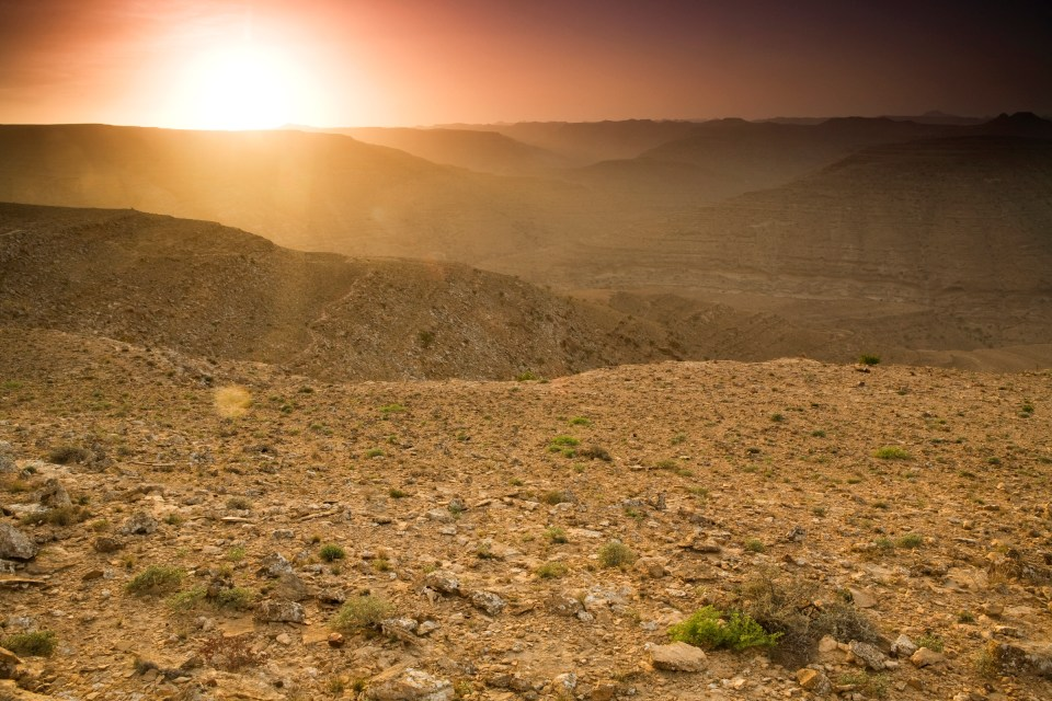 Valleys in sandstone desert at sunset, Hawf Protected Area, Yemen