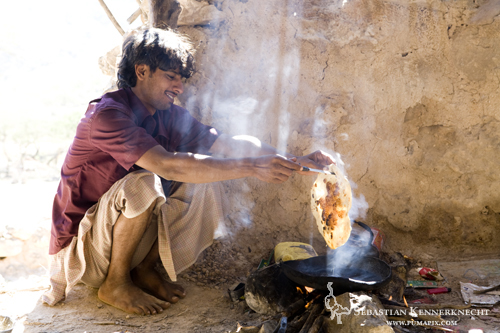 Bedouin making bread, Hawf Protected Area, Yemen