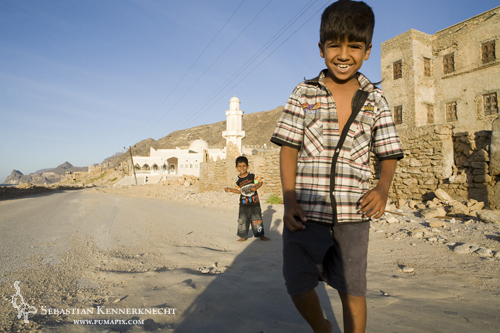 Boys near mosque, Hawf Protected Area, Yemen