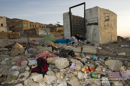 Trash in Hawf city, Hawf Protected Area, Yemen