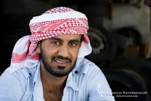 Yemeni man wearing head scarf, Hawf Protected Area, Yemen