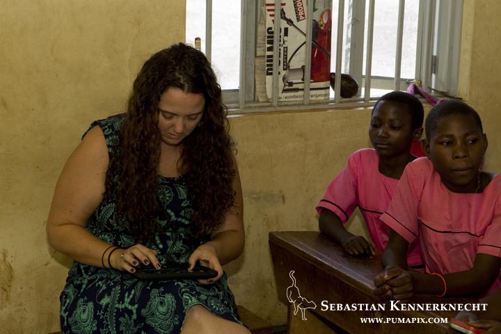 Michelle Anne in elementary school classroom, western Uganda
