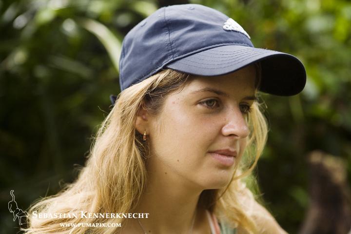 Jaguar (Panthera onca) biologist, Eleonore Hachemen, Coastal Jaguar Conservation Project, Tortuguero National Park, Costa Rica