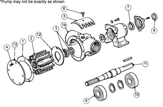 Parts for Jabsco Pump model # 7420-1001