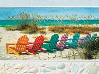 Rainbow Beach Chairs Beach Themed Birthday Greeting Cards