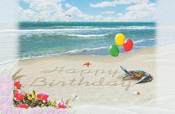 Birthday Surprise Beach Embossed Birthday Greeting Cards