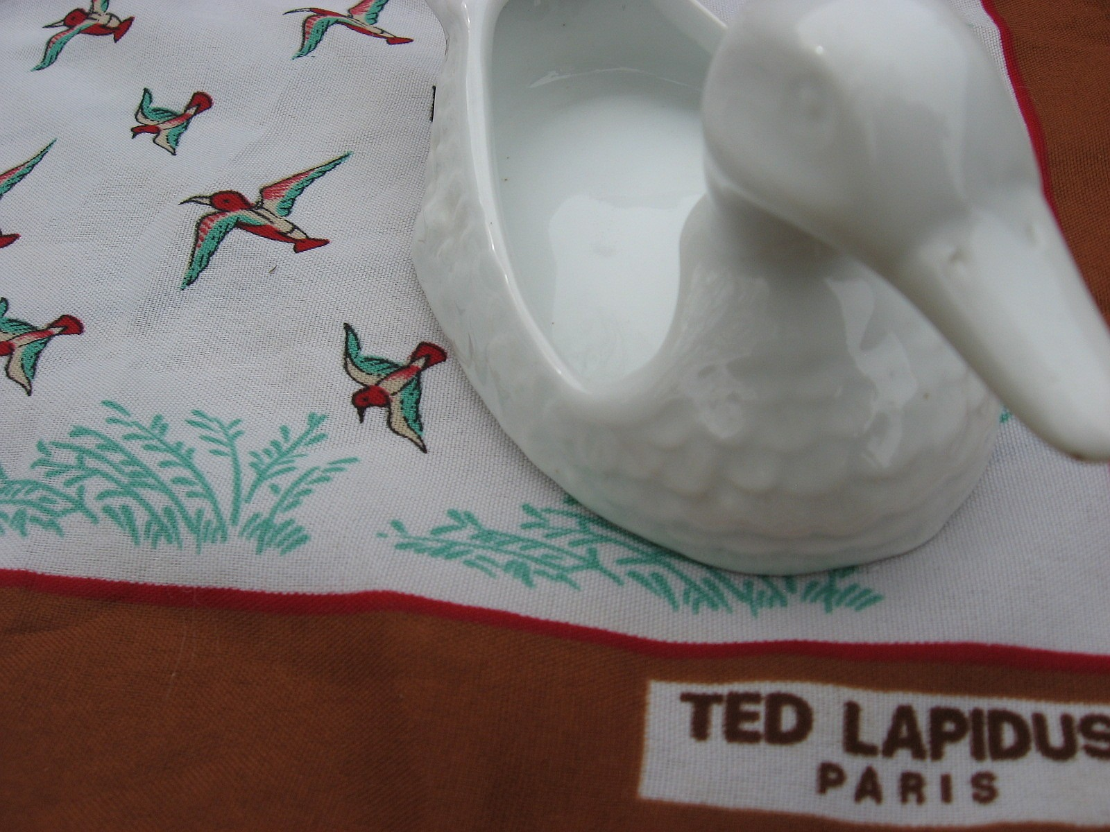 Ted Lapidus French scarf with porcelain duck - Sold at PumpjackPiddlewick