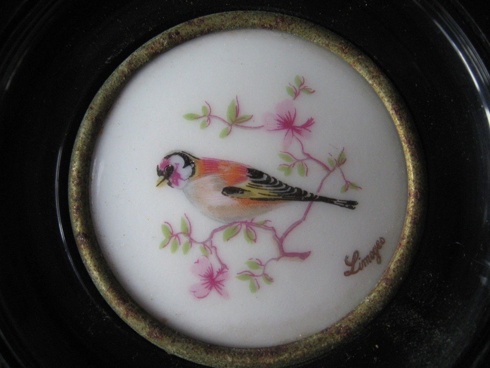 Limoge hand painted bird plaques at PumpjackPiddlewick
