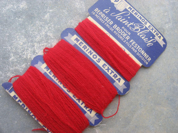 red merino wool thread_Sold at PumpjackPiddlewick