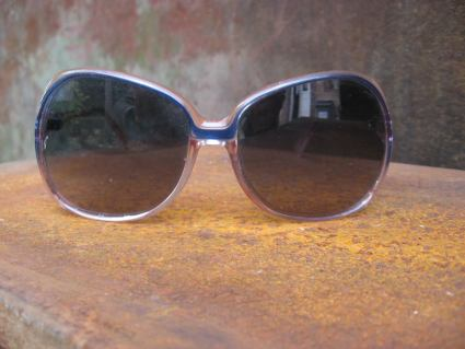 1970s boho sunglasses blue pink plastic at PumpjackPiddlewick