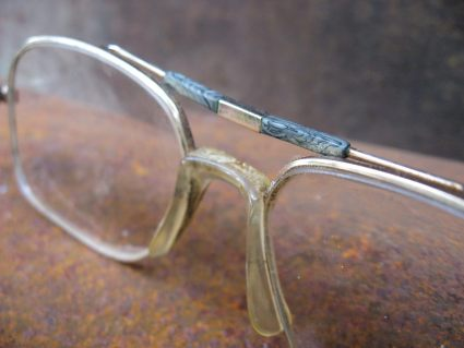 1970s gold metal aviator glasses with slate trim at PumpjackPiddlewick