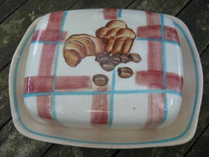 Butter dish croissat coffee country at PumpjackPiddlewick