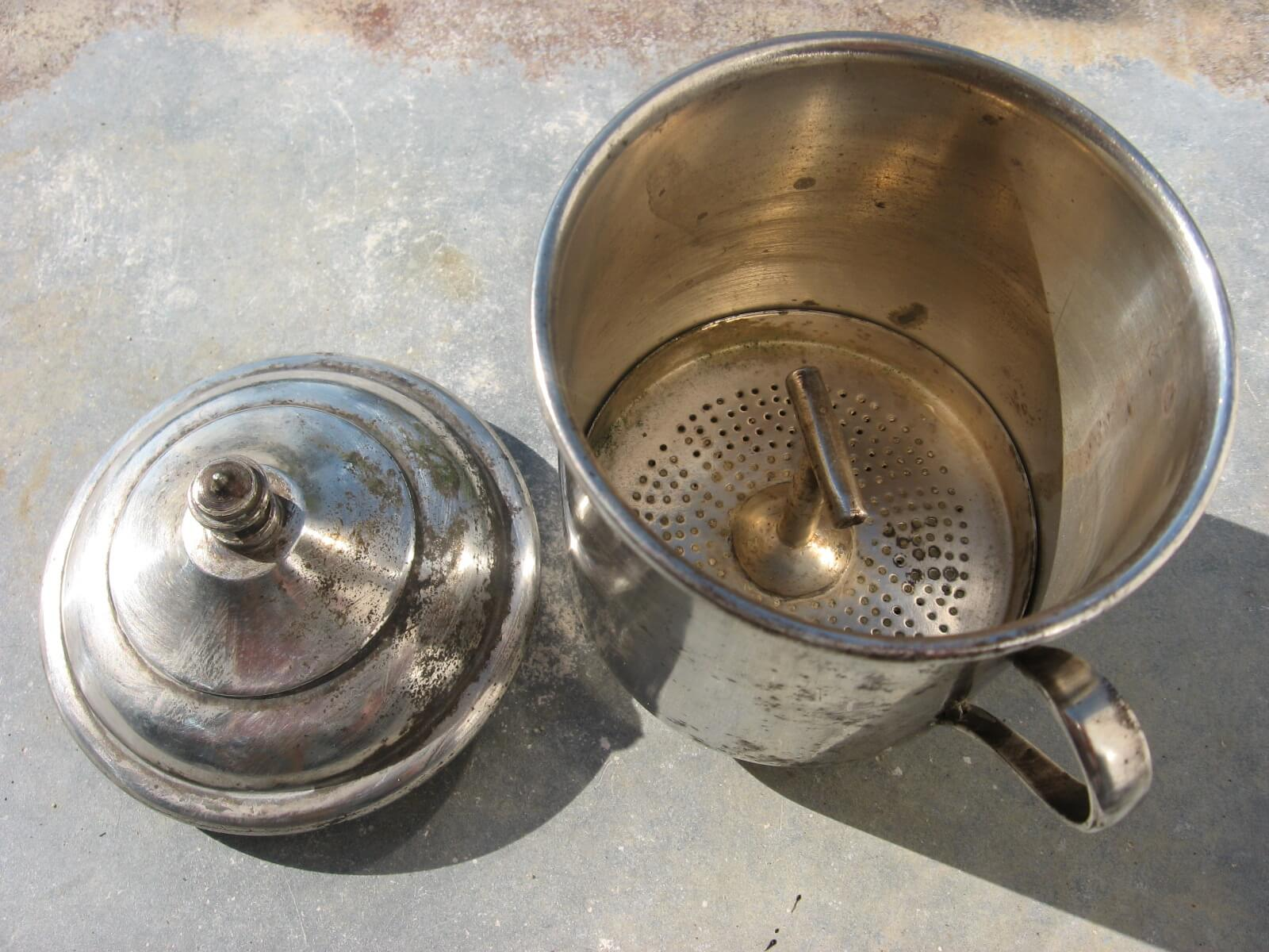 French silver one cup coffee filter at PumpjackPiddlewick