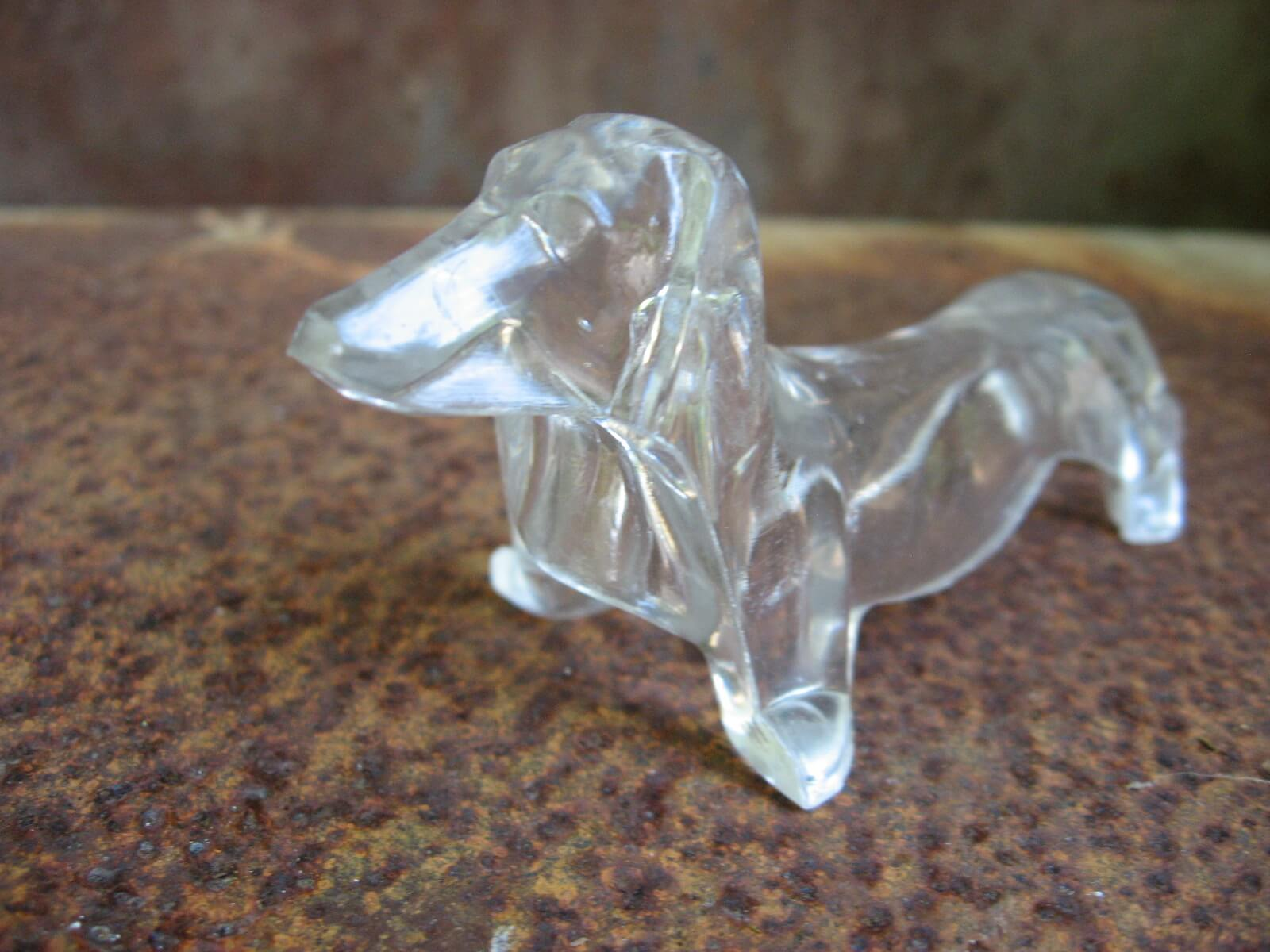 dachshund clear lucite plastic knife rest_Sold at PumpjackPiddlewick