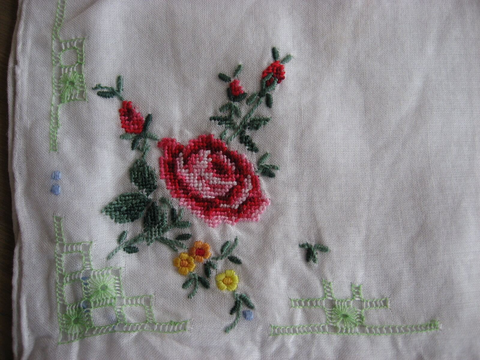 handkerchief red rose embroidered linen at PumpjackPiddlewick