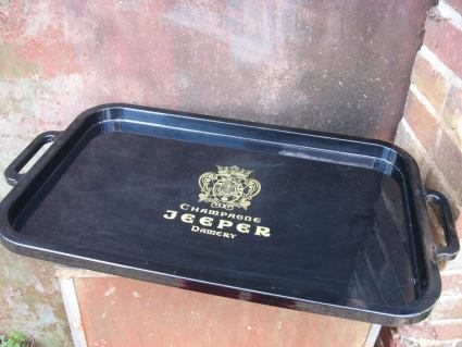 Jeeper Champagne Black Plastic serving tray Damery Reims at PumpjackPiddlewick