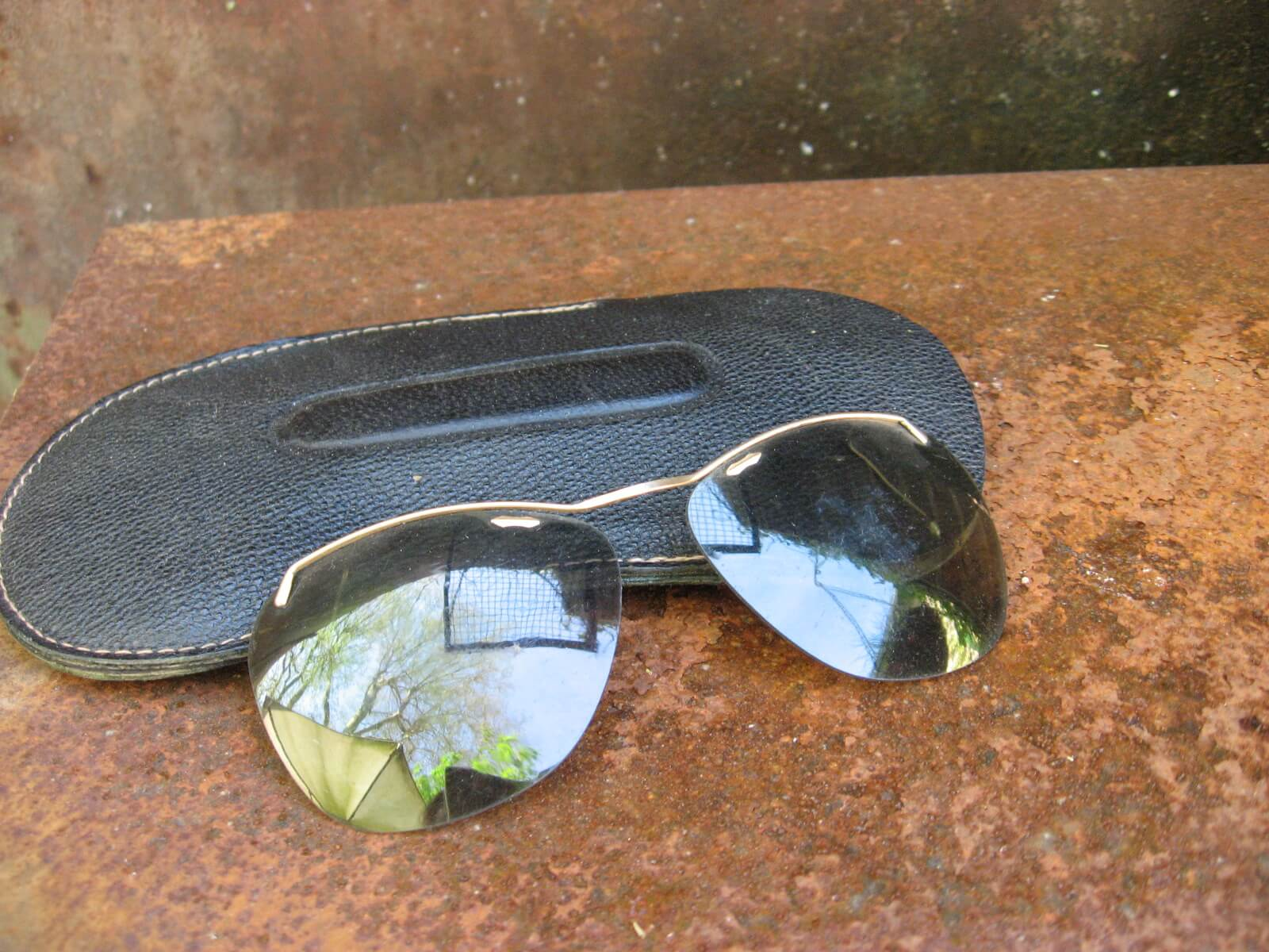 1940s French clip-on sunglasses gold browline grey tinted lenses_A_PumpjackPiddlewick