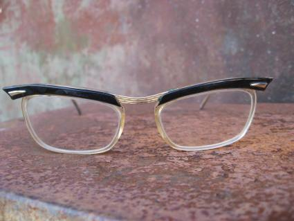 vintage 1950s eyeglasses black browline gold accents wing tip_B_PumpjackPiddlewick