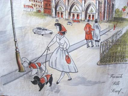 1950s Vintage French Silk Scarf Paris scenes etchings on white_E_FrenchSilkScarf.Etsy