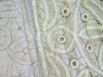 Antique needle point lace with linen and parchment pattern 1800s point de France_E_PumpjackPiddlewick