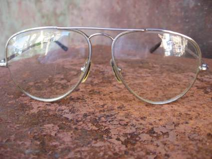 L'Amy French aviator RAF vintage eyeglasses silver chrome_G_PumpjackPiddlewick