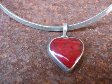 May Art 925 silver choker necklace an red jasper stone heart at PumpjackPiddlewick
