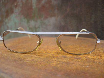 1980s narrow white silver eyeglasses at PumpjackPiddlewick
