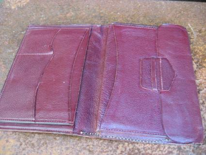 wallet burgundy maroon leather French european size tri fold at PumpjackPiddlewick