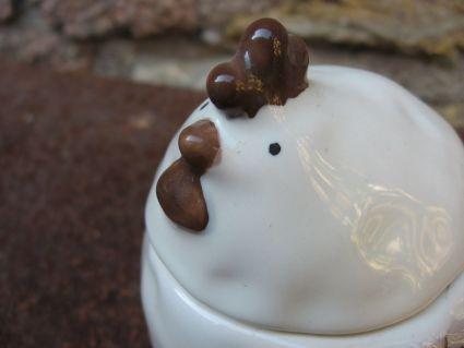Adorable chicken ceramic container